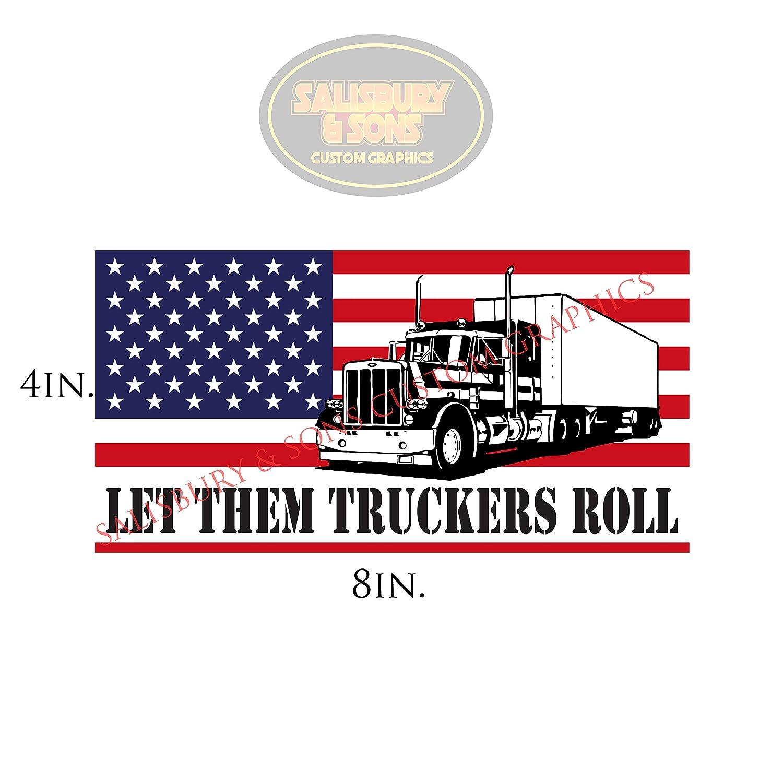 Amazon com semi american flag sticker trucker truck decals car window decals patriotic stickers stickers for trucks redneck camo let them truckers