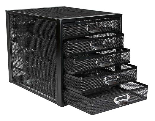 2 opinioni per Osco- Cassettiera a 5 cassetti, struttura retata, colore: nero
