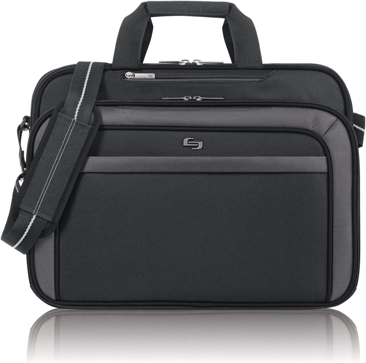 Solo Empire 17.3 Inch Laptop Briefcase, TSA Friendly, Black/Grey