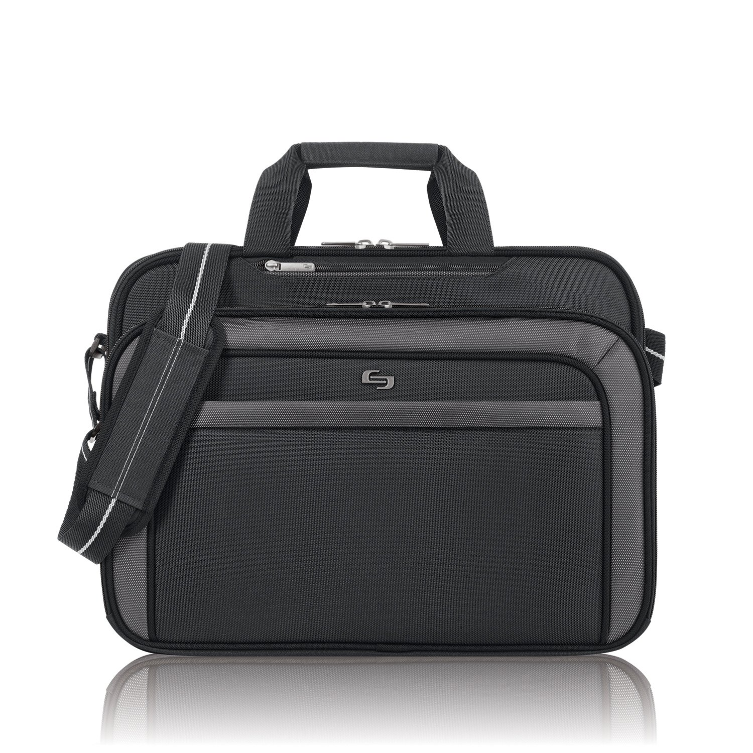 Solo Empire 17.3 Inch Laptop Briefcase, TSA Friendly, Black/Grey CLA314-4U2