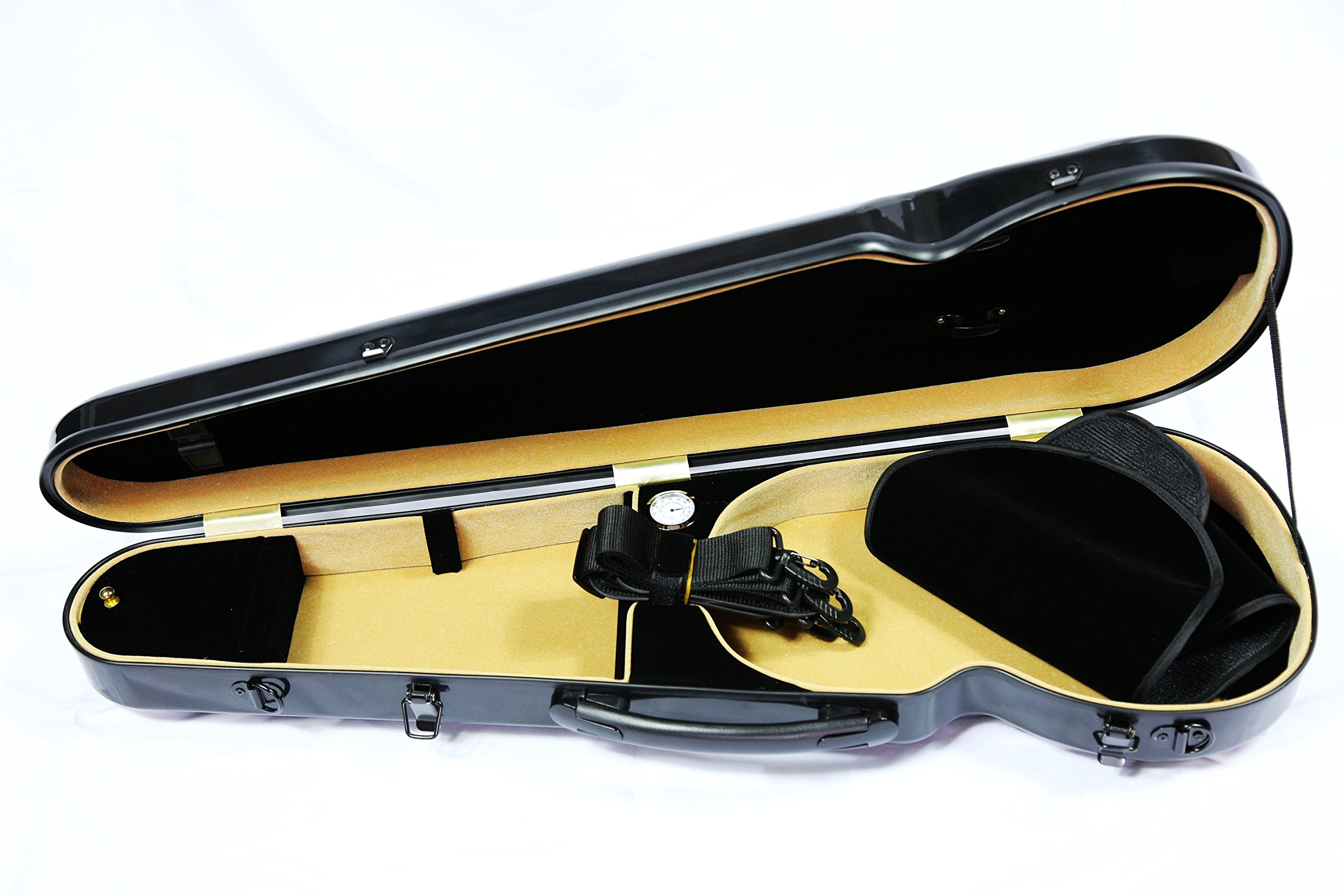 Vio Music Full Size Hightech Carbon-Like Combo Violin Case 4/4-Black, New Design