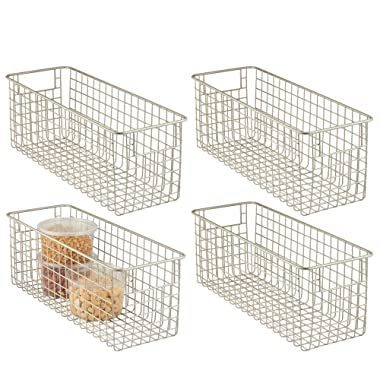 mDesign Farmhouse Decor Metal Wire Food Storage Organizer Bin Basket with Handles for Kitchen Cabinets, Pantry, Bathroom, Laundry Room, Closets, Garage - 16  x 6  x 6  - 4 Pack - Satin