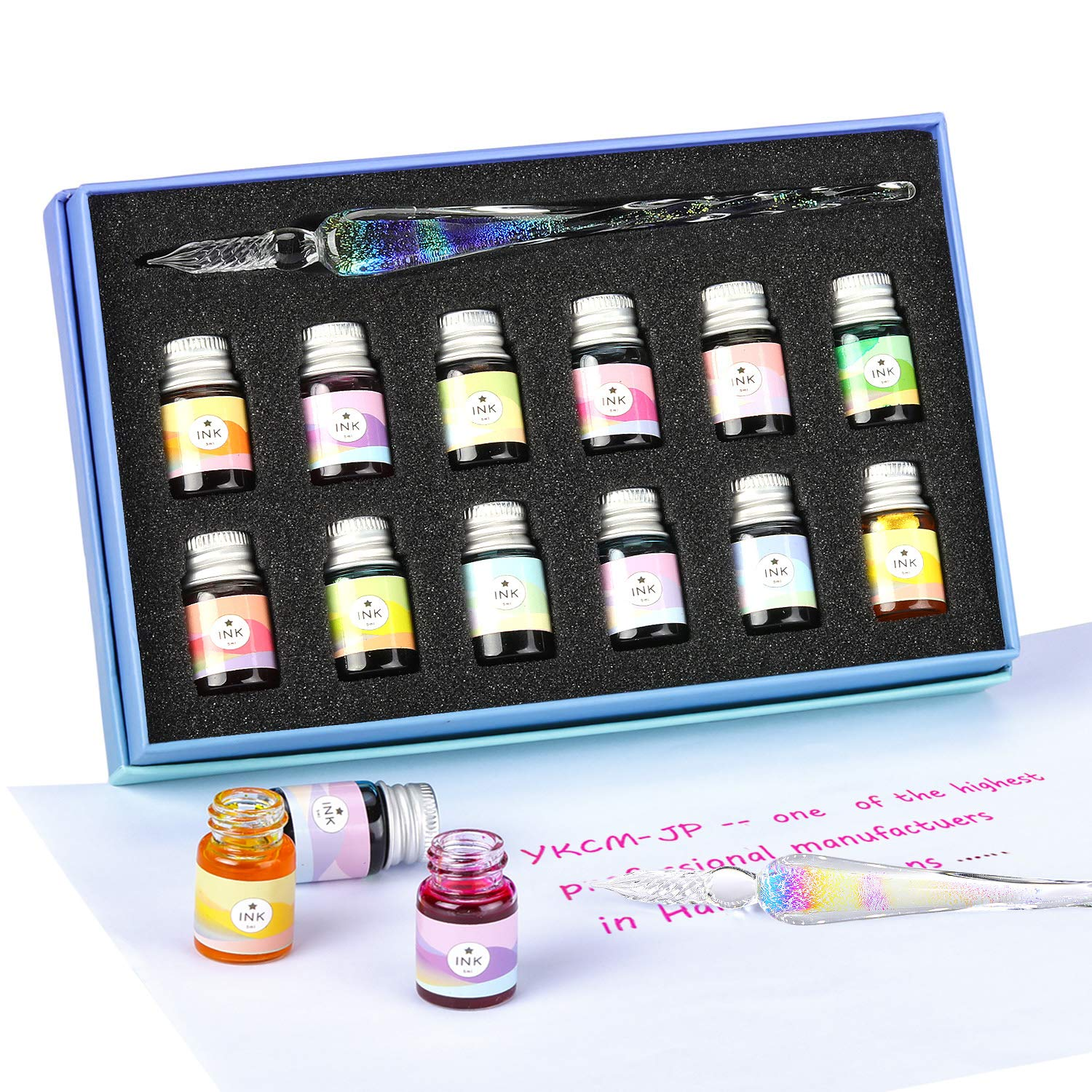 Glass Dipped Pen Ink Set-Crystal Pen with 12 Colorful Inks for Art, Writing, Signatures, Calligraphy, Decoration, Gift