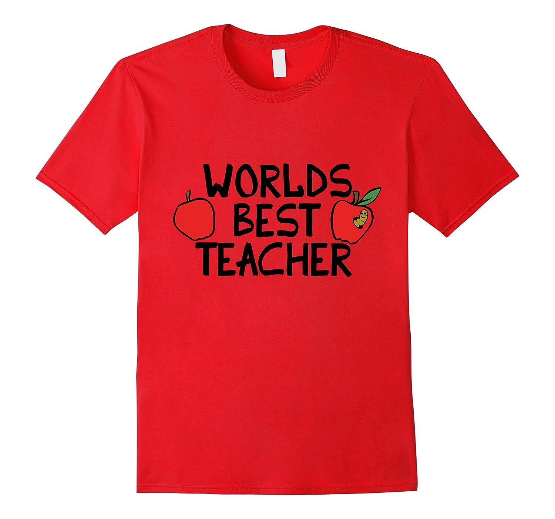 Worlds best teacher shirt cute apples and bookworm tee-TH