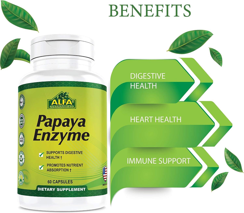 Amazon.com: Alfa vitmains enzima de Papaya 60 mg Suplemento de ...