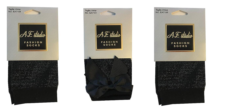 glitter brillanti A.E STUDIO SET 3 Calzini donna trasparenti lurex brillanti e alla moda altezza caviglia