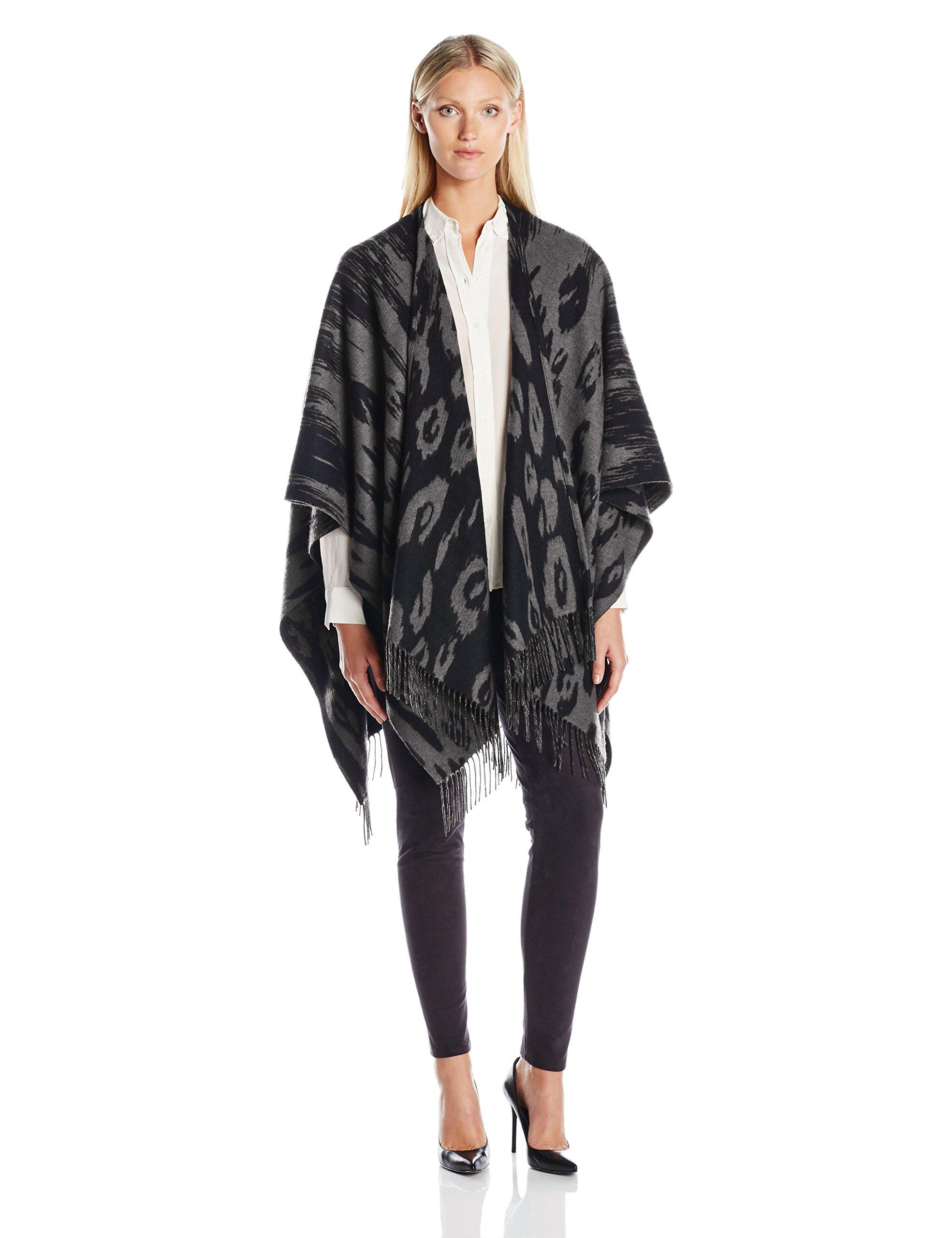 Phenix Cashmere Women's Ocelot Merino Wool Jacquard Ruana, Derby Grey/Black, One Size