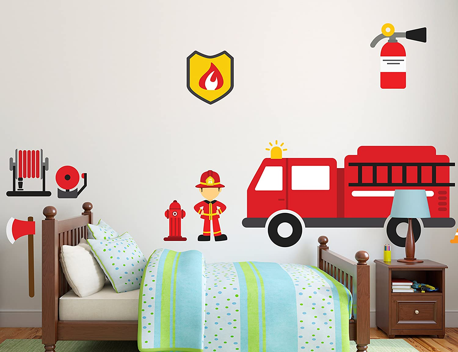 "Firetruck & Fireman Theme DIY - Mural Room Wall Decals - Baby Boy Girl Unisex Decoration - Mural Wall Decal Sticker For Home Interior Decoration Car Laptop (Wide 27"" x 14"" Height)"