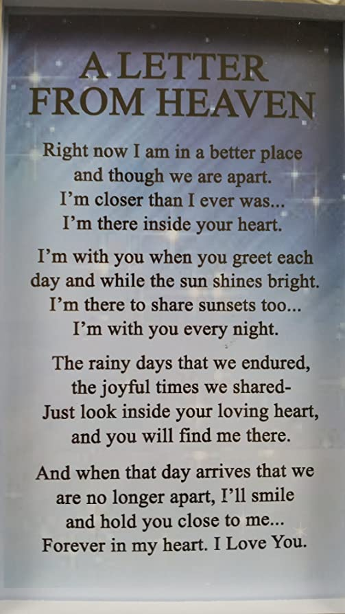A letter from Heaven Memorial Frame with special verse