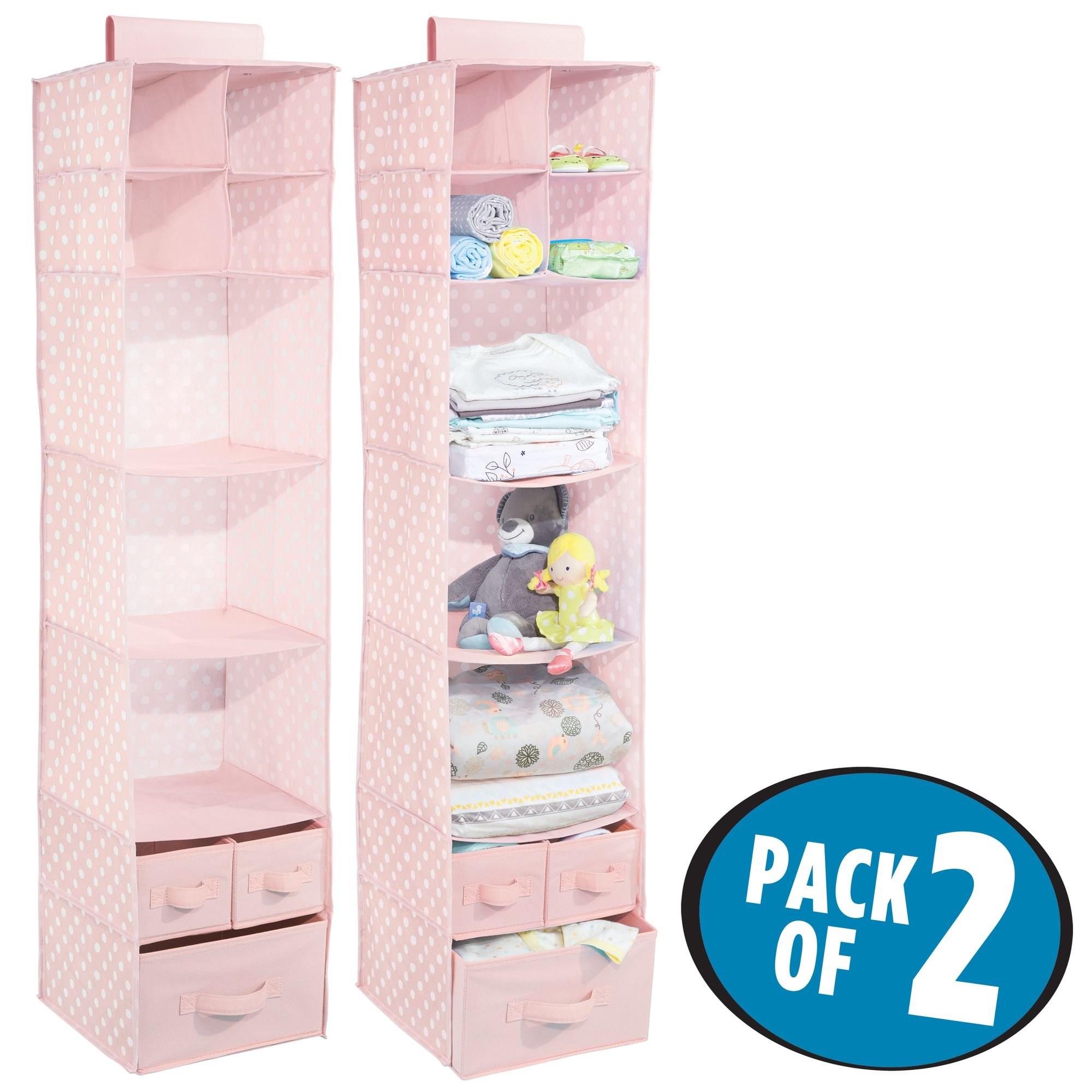 mDesign Soft Fabric Over Closet Rod Hanging Storage Organizer with 7 Shelves and 3 Removable Drawers for Child/Baby Room or Nursery - Pack of 2, Polka Dot Pattern, Pink with White Dots