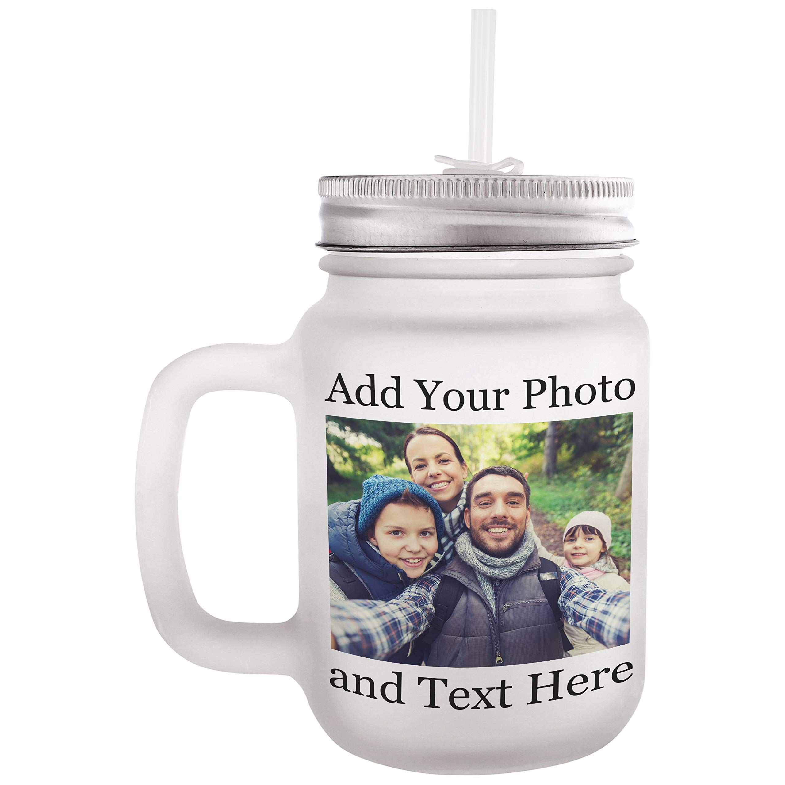 Personalized Custom Mason Jar - Add Your Photo, Text, Logo, Monogram - 8 Different Fonts & Colors - 12oz Mason Jar with Lid and Straw