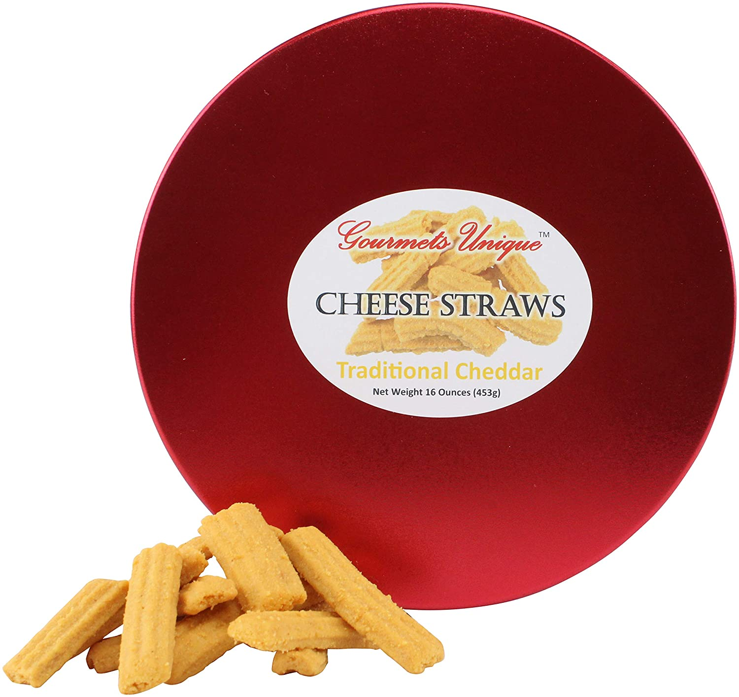 Southern Gourmet Cheese Straws, Traditional Cheddar, 1 Pound in Tin