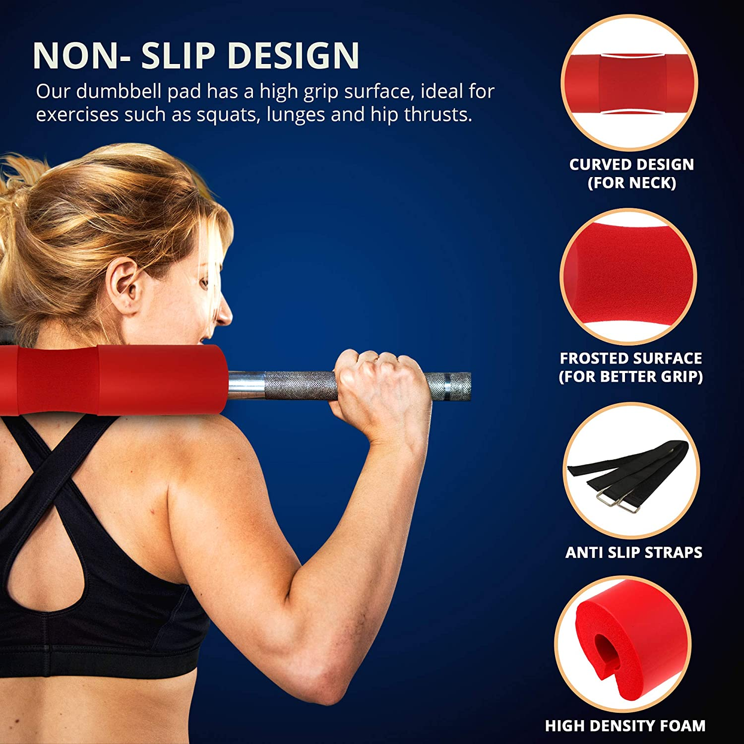 and Hip Thrusts ~ Foam Sponge Pad ~ Relief for Stress Points Barbell Cushion for Squats Lunges
