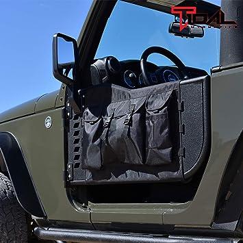 2Pcs Left /& right door Accessories,Guards Textured Black Spider for 2007-2018 J-e-ep Wrangler JK,JKU,Sport,Sahara Steel+rustproof Rear Tubular Door Rubicon,Unlimited 4 Door