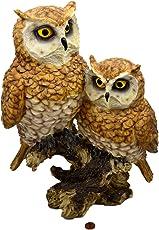 Muwse Große Deko-Eule auf Stamm ca. 24x14x33cm aus Poly, UV- und Witterungs-unempfindlich, naturgetreu handbemalter Kunst-Stein
