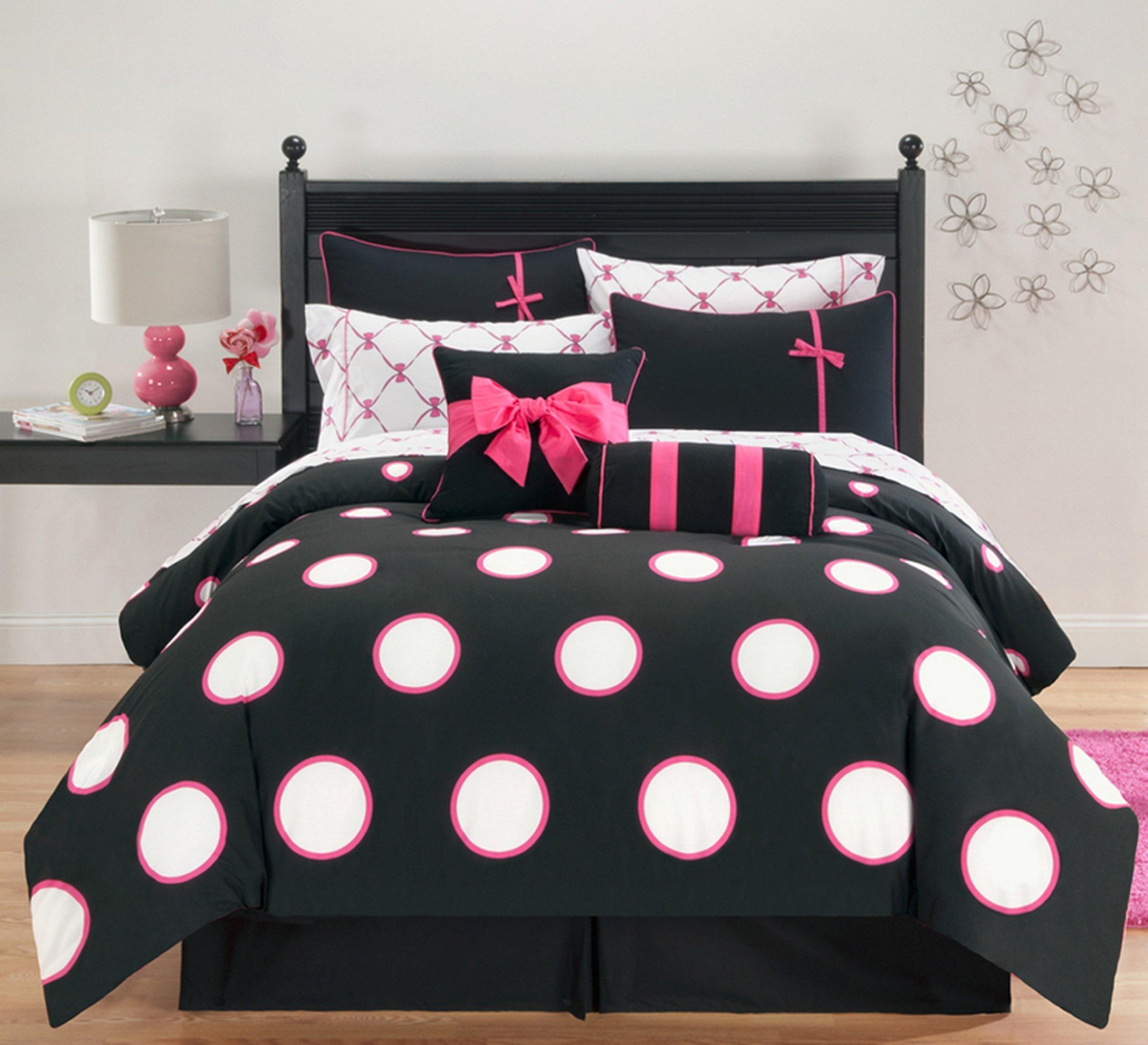 VCNY Home Sophie Polka Dot 10 Piece Bed-in-a-Bag Comforter Set, Full, Black/Pink