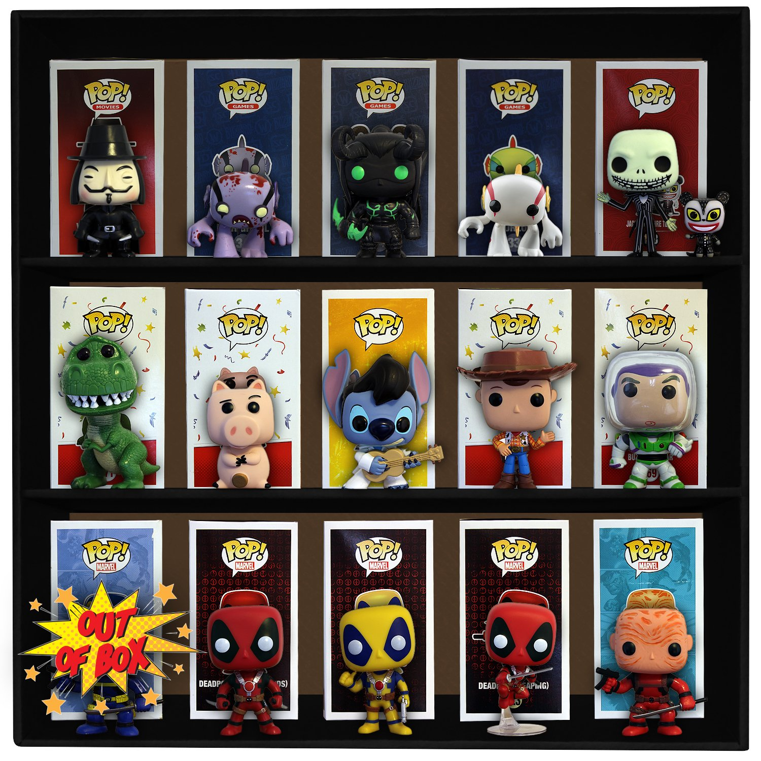1 Display Geek Stackable Toy Shelf for 4 in. Vinyl Collectibles with 3 Backdrop Inserts, Black Corrugated Cardboard by Display Geek, Inc. (Image #6)