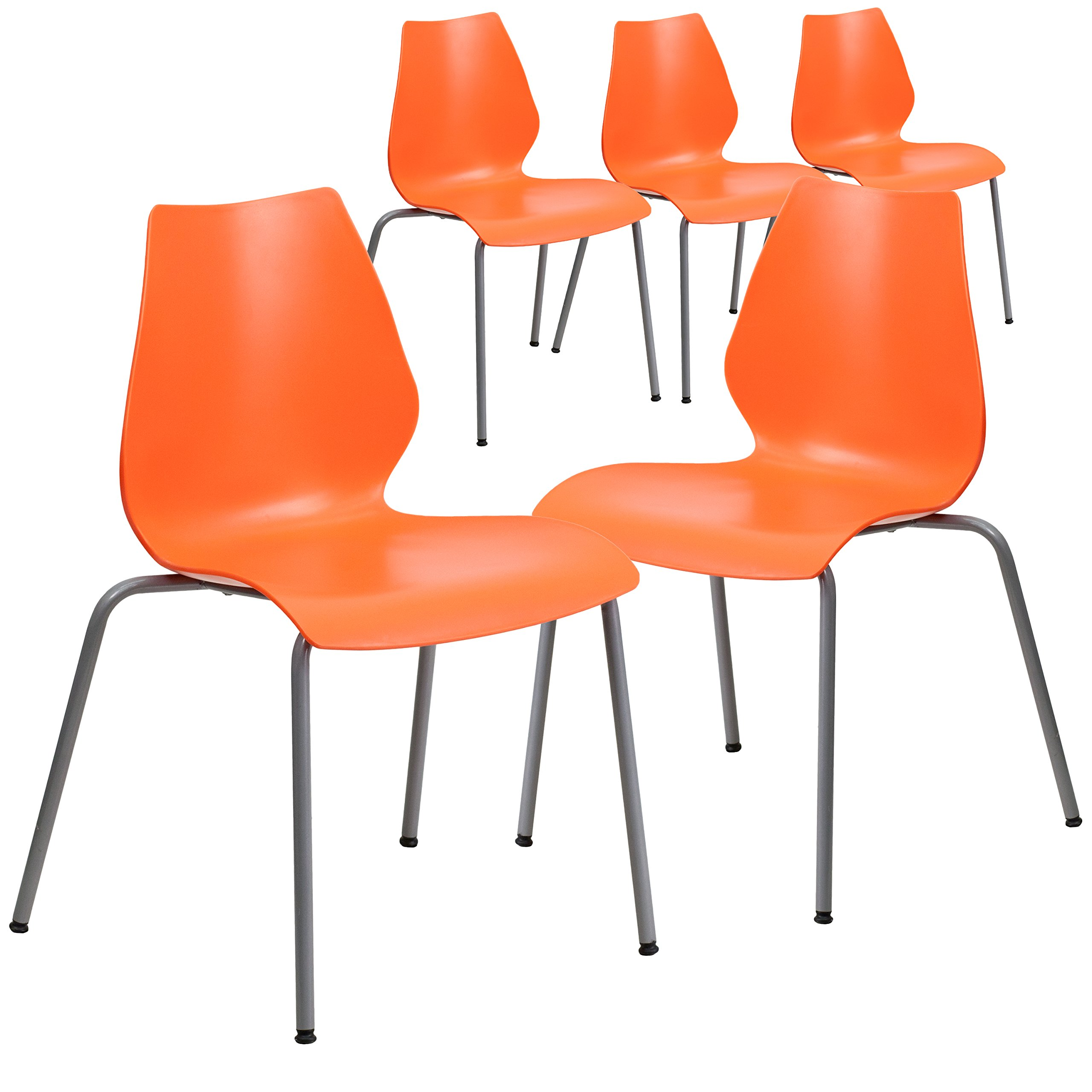 Flash Furniture 5 Pk. HERCULES Series 770 lb. Capacity Orange Stack Chair with Lumbar Support and Silver Frame by Flash Furniture