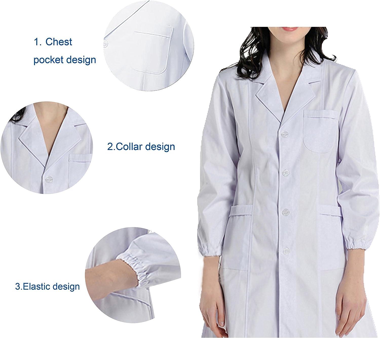 BSTT Donna Camice da Laboratorio Bianca Abbigliamento da Lavoro e Divise Nuovo miglioramento