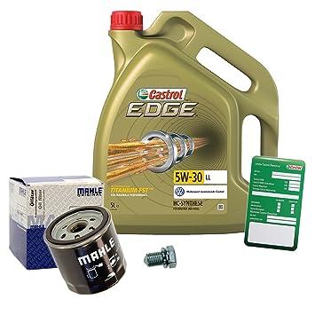 1 x Set - de aceite Mahle aceite + 5 l Castrol Edge Titanium FST 5 W de 30 LL: Amazon.es: Coche y moto