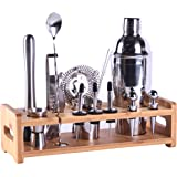 MAISON HUIS Bartender Kit 16-Piece Bar Tool Set with Stylish Bamboo Stand Perfect Home Bartending Kit and Martini Cocktail Sh