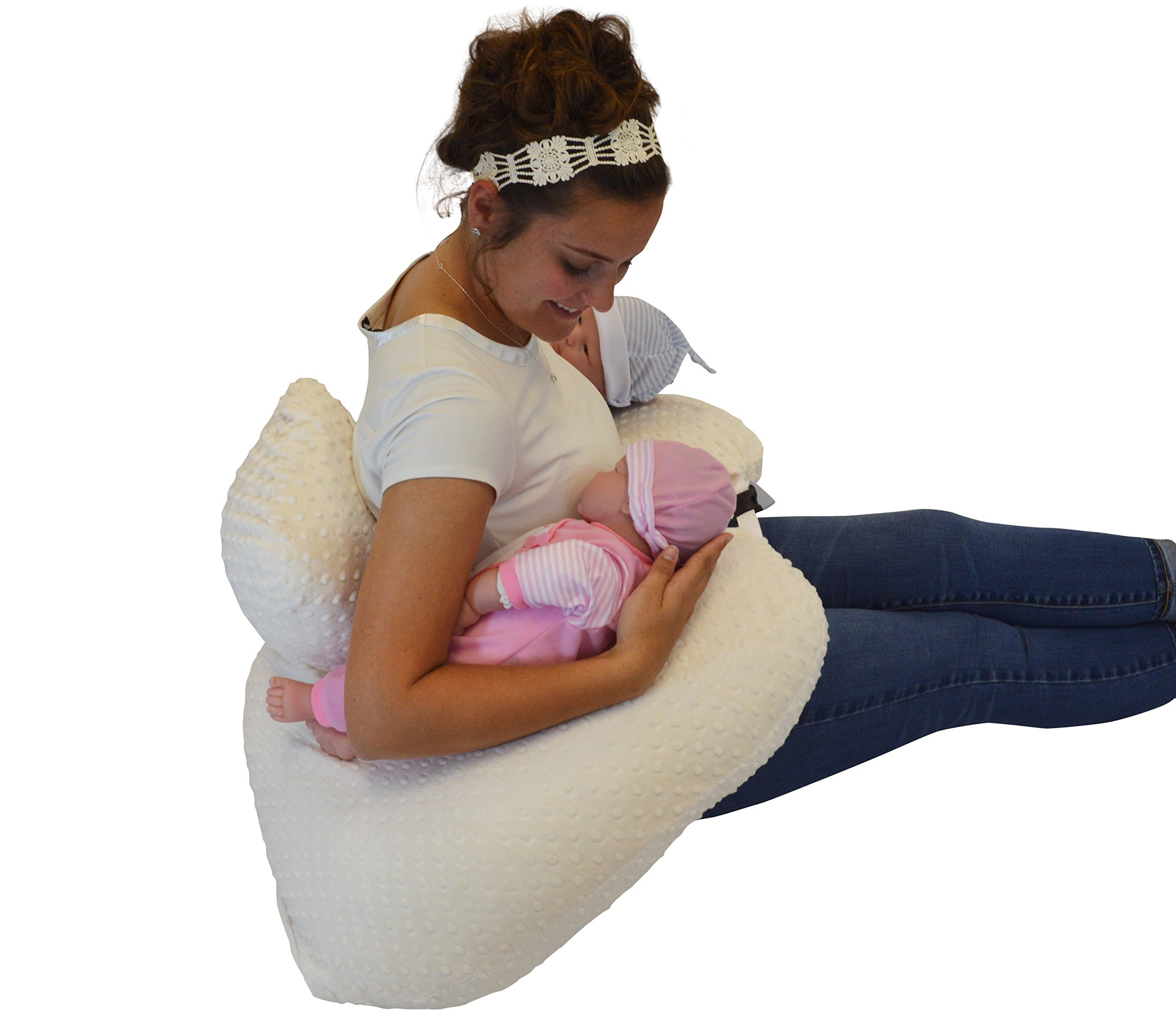 THE TWIN Z PILLOW - CREAM - 6 uses in 1 Twin Pillow ! Breastfeeding, Bottlefeeding, Tummy Time, Reflux, Support and Pregnancy Pillow! CUDDLE CREAM DOTS by Twin Z PIllow (Image #4)