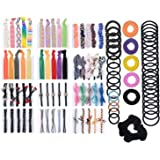 101 PCS Natural Curly Hair Ties Rope Assorted (15 Styles ) Colored Thick Hair Elastic Bands Ribbon No Crease Ponytail Holders For Women Girls