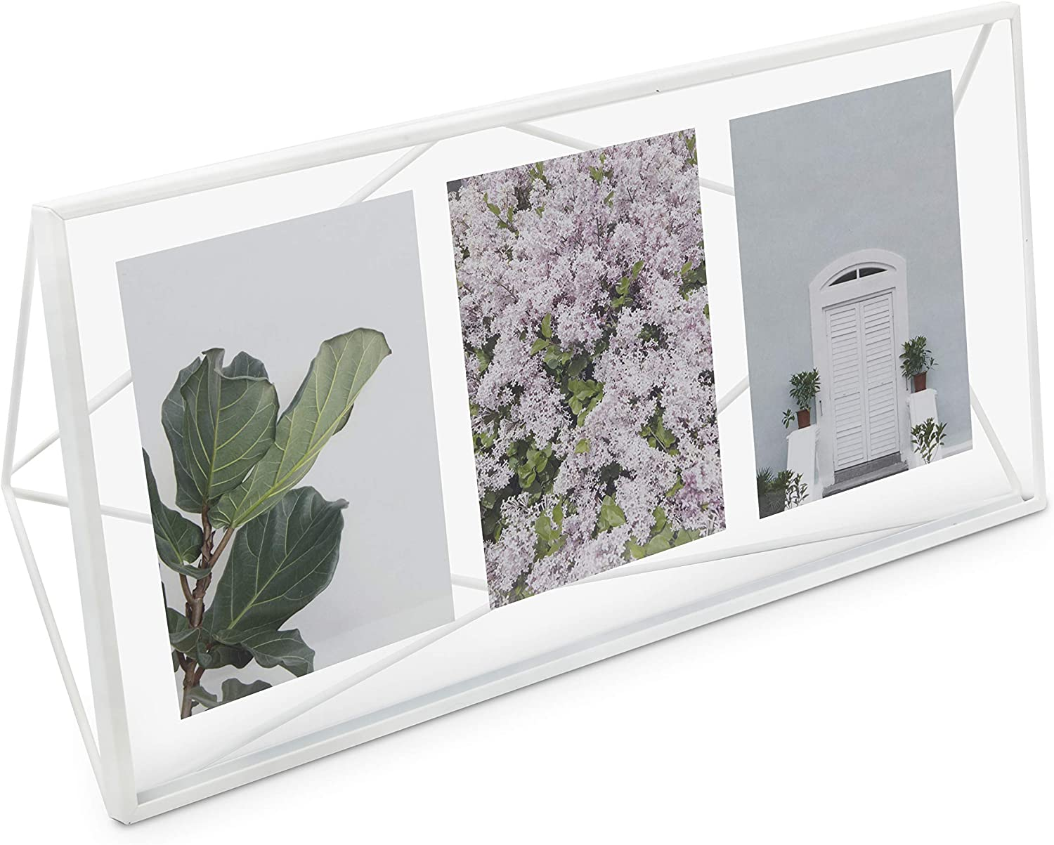 """Umbra, White Prisma Multi Picture Frame for Desktop or Wall, Holds Three 5""""x7"""" Photos"""