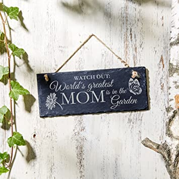 Hanging Slate Sign   World´s Greatest Mom Is In The Garden   Butterfly  Garden