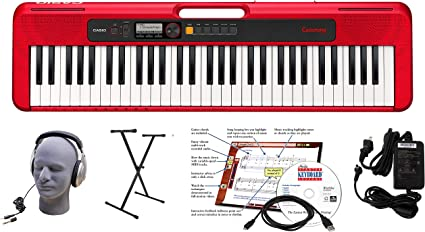 Red CAS CTS200RD EPA Power Supply Stand Renewed 6-Foot USB Cable and eMedia Instructional Software Casio CT-S200RD 61-Key Premium Keyboard Package with Headphones