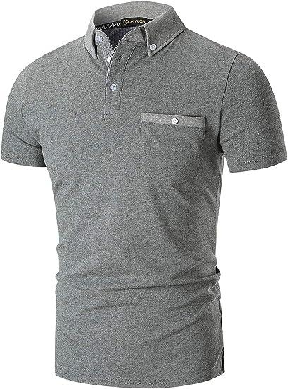YIPIN Hombre Polo de Manga Corta Color de Contraste Golf Camisa ...