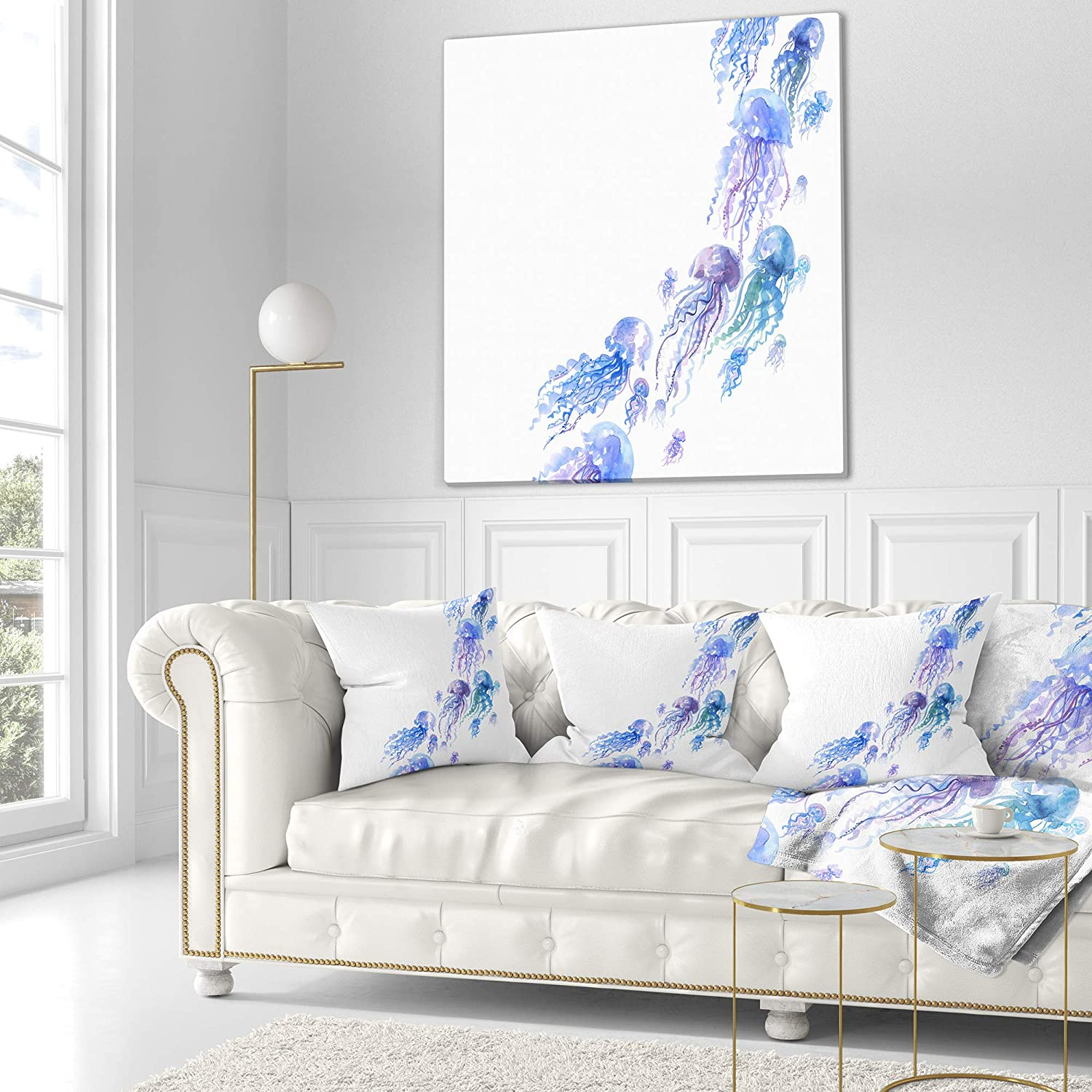 Sofa Throw Pillow 26 x 26 Designart CU13305-26-26 Moving Jellyfish Group Abstract Cushion Cover for Living Room