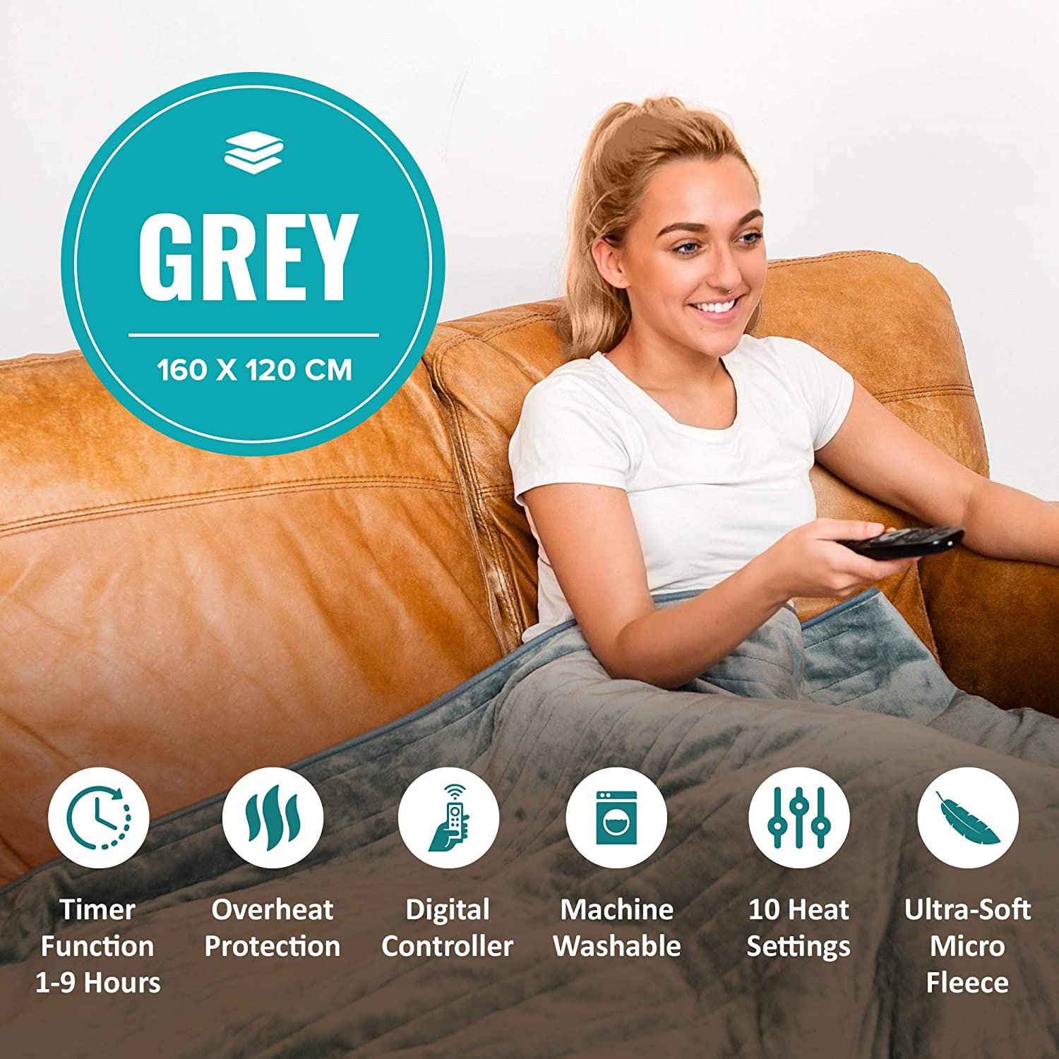 Easy to Use Detachable Digital Control Machine Washable Grey 160x120cm LIVIVO Heated Electric Over Blanket Ultra Soft Micro Fleece Throw with 10 Heat Settings and Timer Function