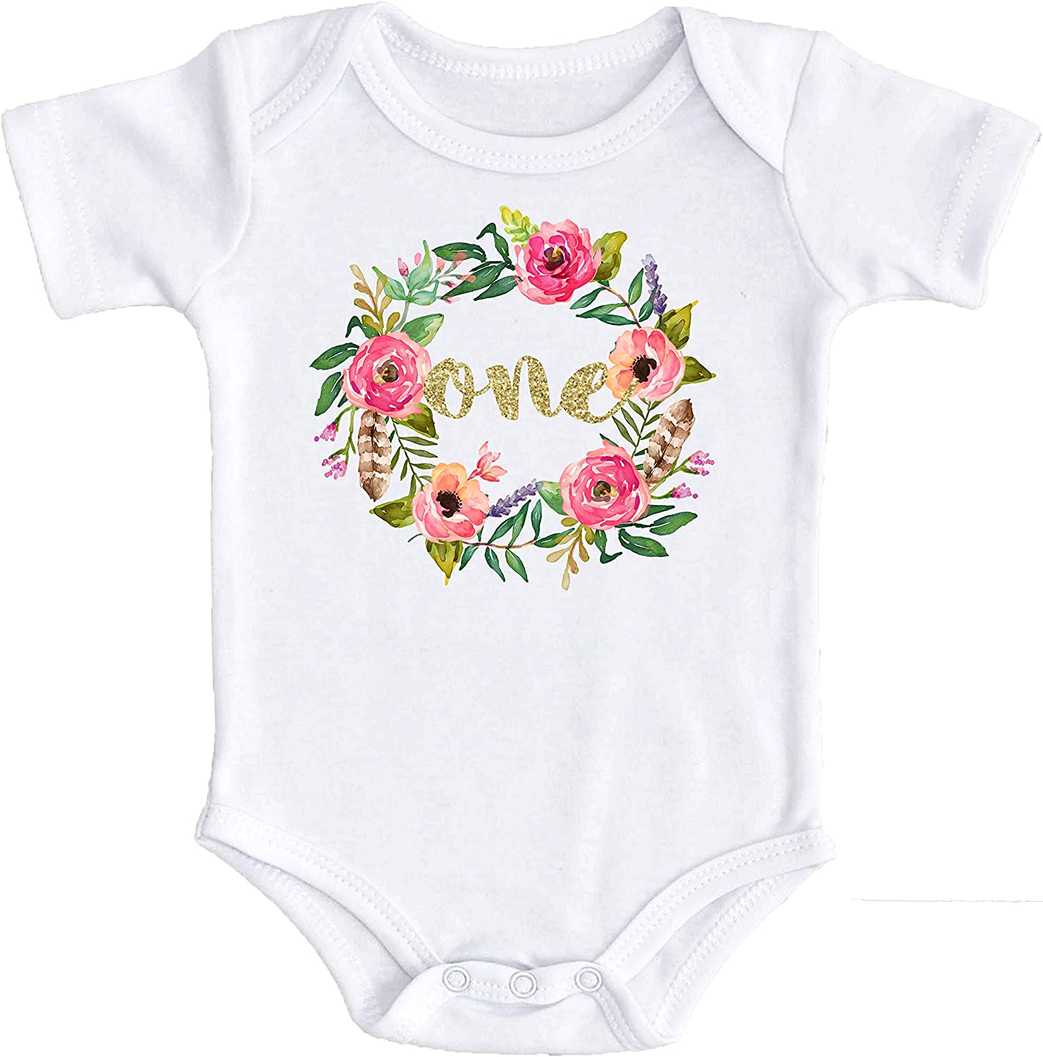 Girls 1st Birthday Bodysuit Watercolor Floral Boho 1st Birthday Girl Outfit