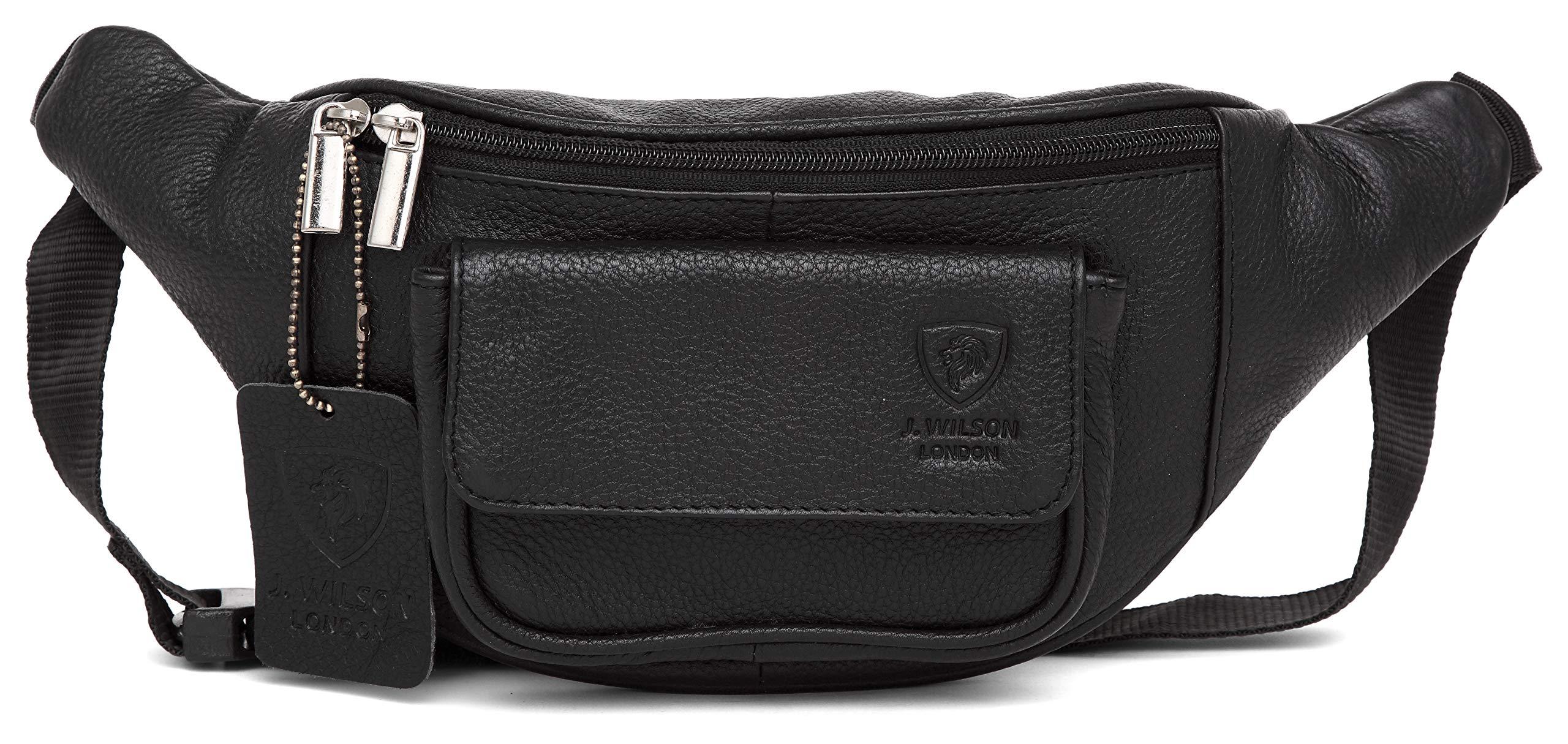 Unisex Soft Black Real Small Leather Bum Bag Money Travel Holiday Waist Belt
