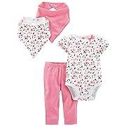 Simple Joys by Carter's Baby Girls' 4-Piece Bodysuit, Pant, Bib and Cap Set, Pink Floral, 6-9 Months