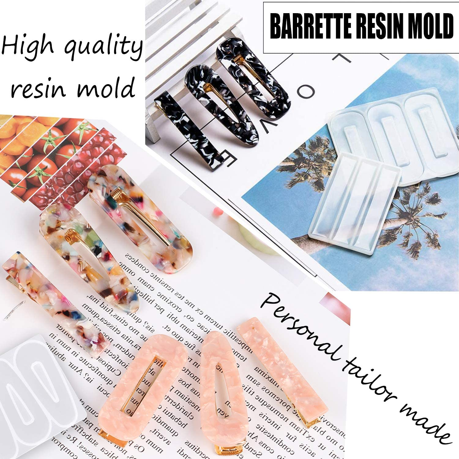 Hair Clip Silicone Molds Jewelry Molds for Epoxy Resin 30PCS Silicone Resin Molds DIY Hair Pin Jewelry Casting Mold for Hair Pin Pendant Making