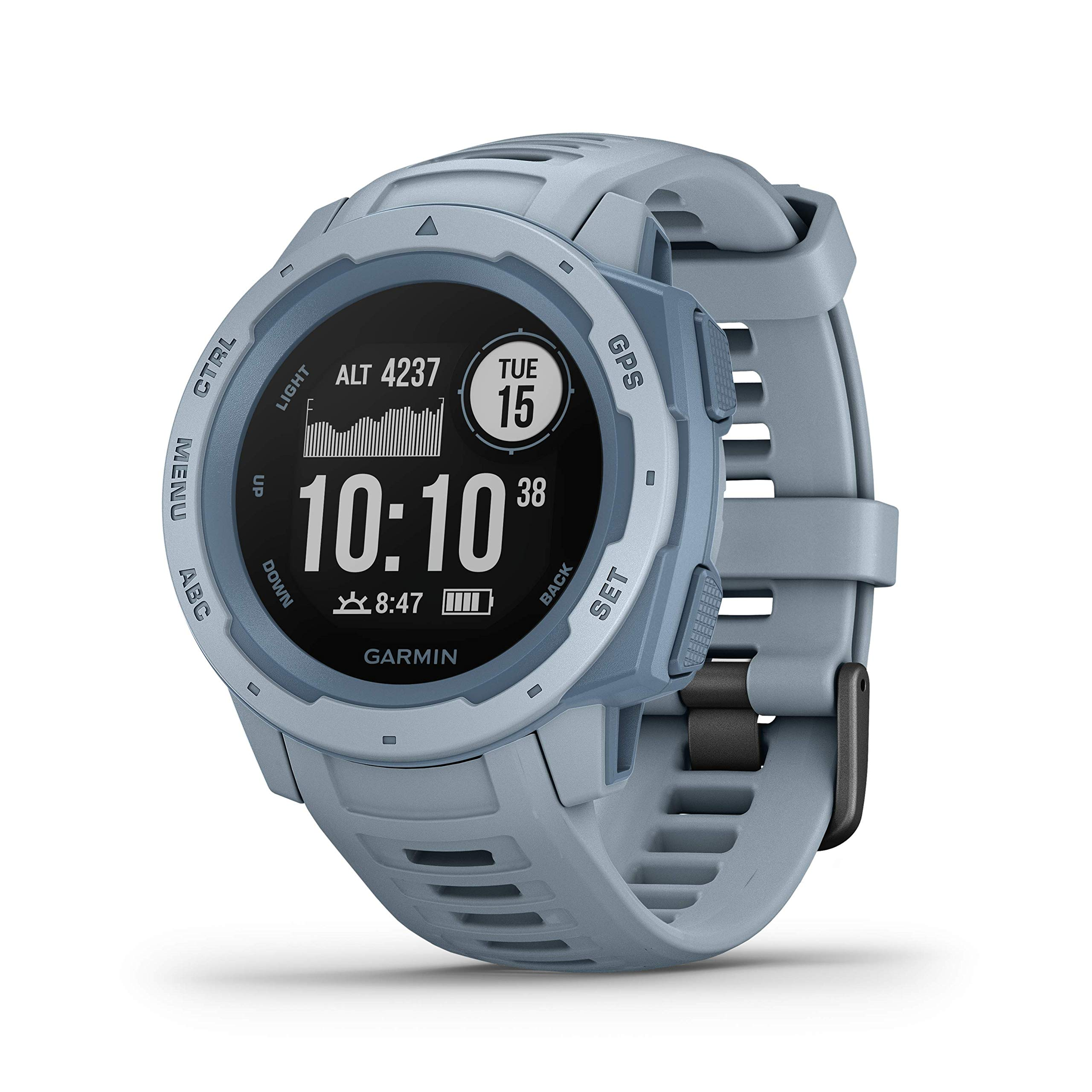 Garmin Instinct, Rugged Outdoor Watch with GPS, Features GLONASS and Galileo, Heart Rate Monitoring and 3-axis Compass, Seafoam Light Blue