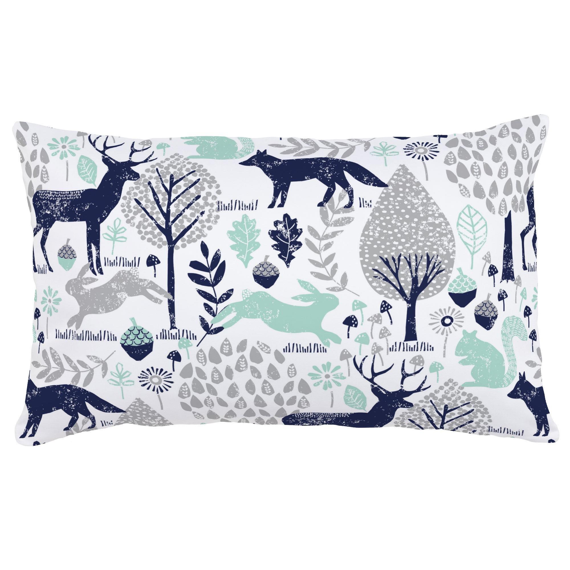 Carousel Designs Navy and Mint Woodland Animals Lumbar Pillow - Organic 100% Cotton Lumbar Pillow Cover + Insert - Made in The USA