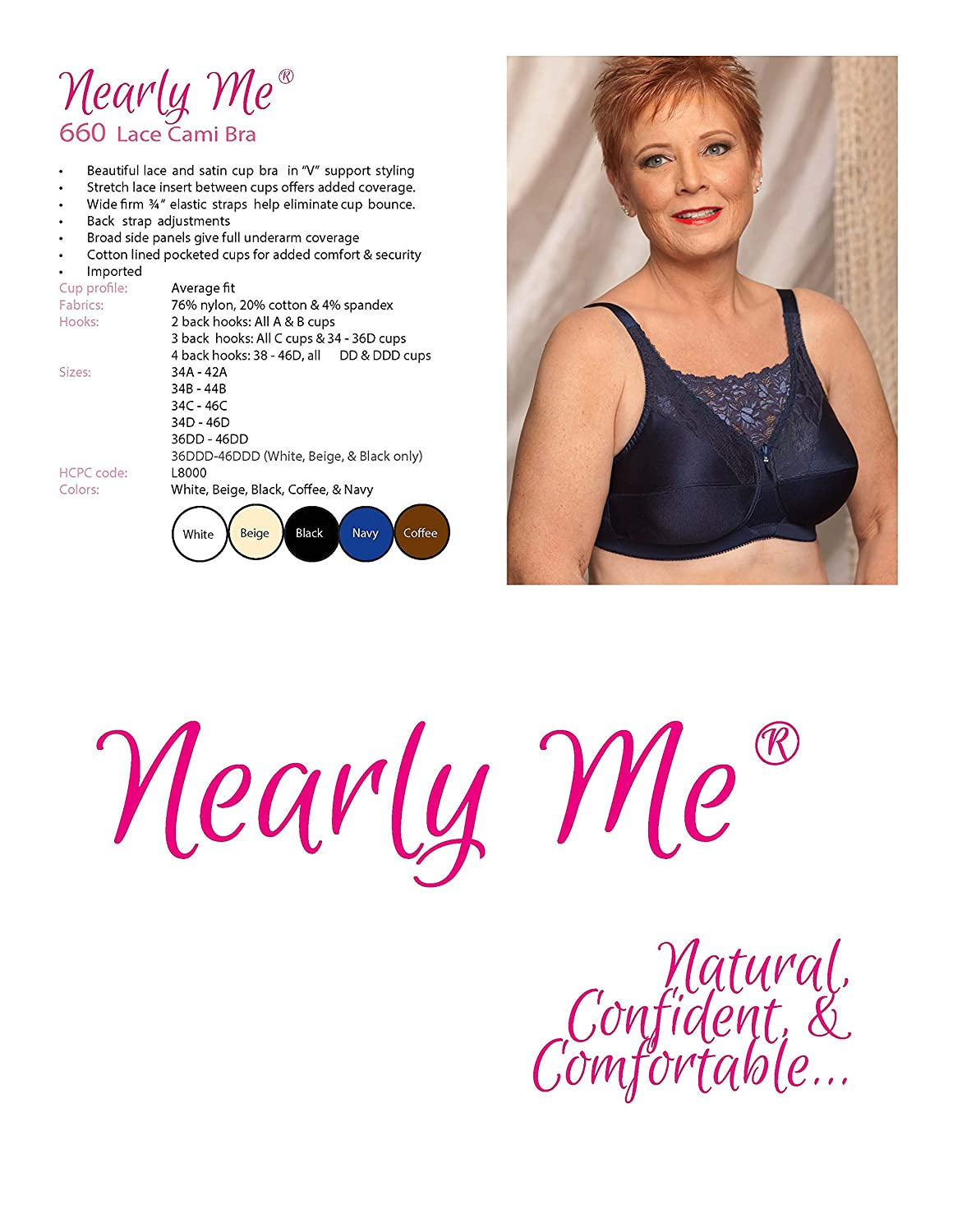 a0ce1cdac220c Amazon.com  Nearly Me -  660 Cami Mastectomy Pocket Bra (Multiple Sizes    Colors)  Clothing