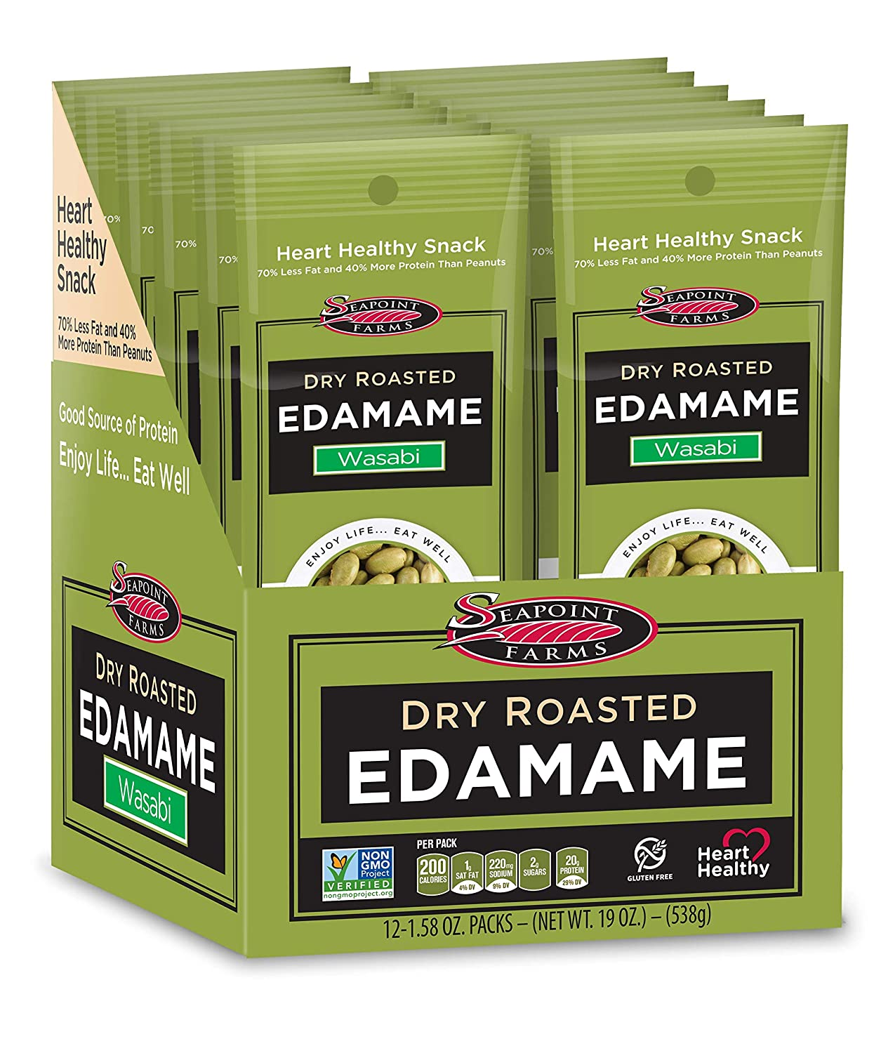 Seapoint Farms Wasabi Dry Roasted Edamame, Healthy Gluten-Free Snacks, 12 Pack