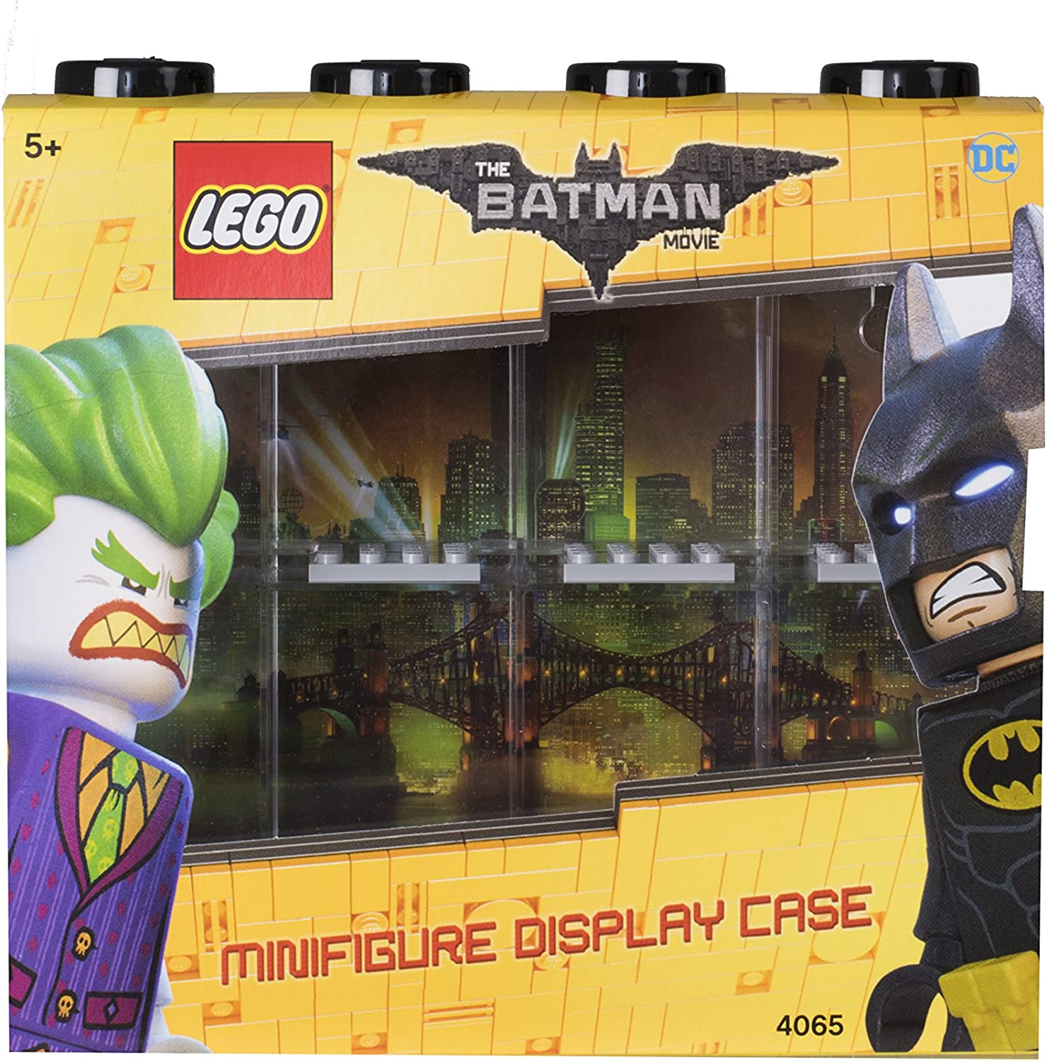 LEGO Batman Minifigure Display Case for 8 Minifigures, Stackable Container for Wall or Desk - Black