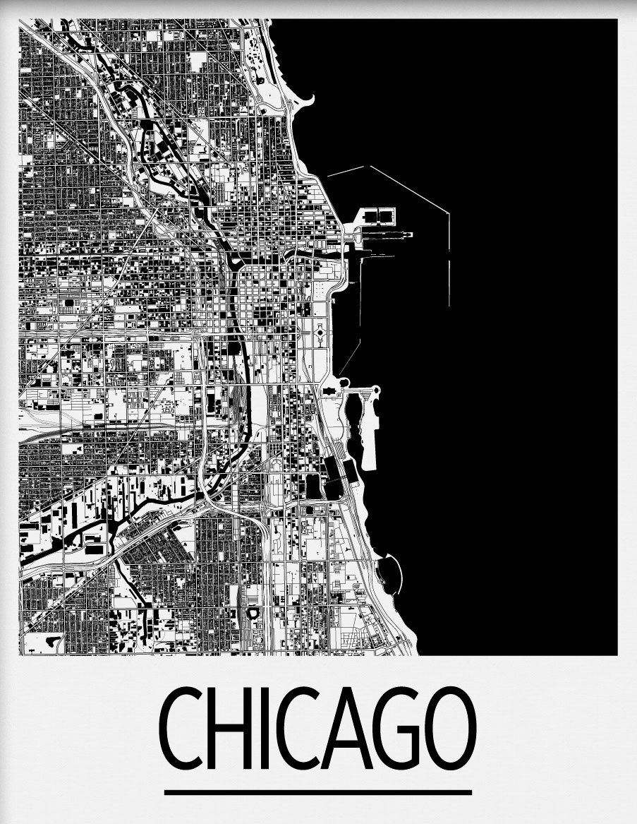 11 x 14 IL Black /& White Art Deco City Map Print//Poster Chicago