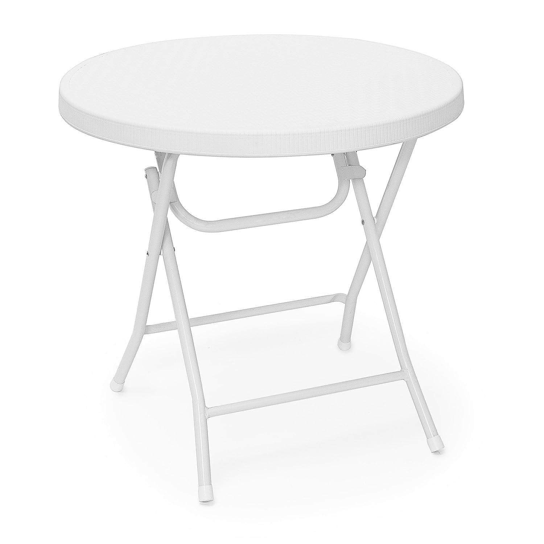 Relaxdays Gartentisch Gartentisch Gartentisch klappbar BASTIAN, rund, H x B x T  74 x 80 x 80 cm, Metall, Kunststoff, Rattan-Optik, weiß 0175aa