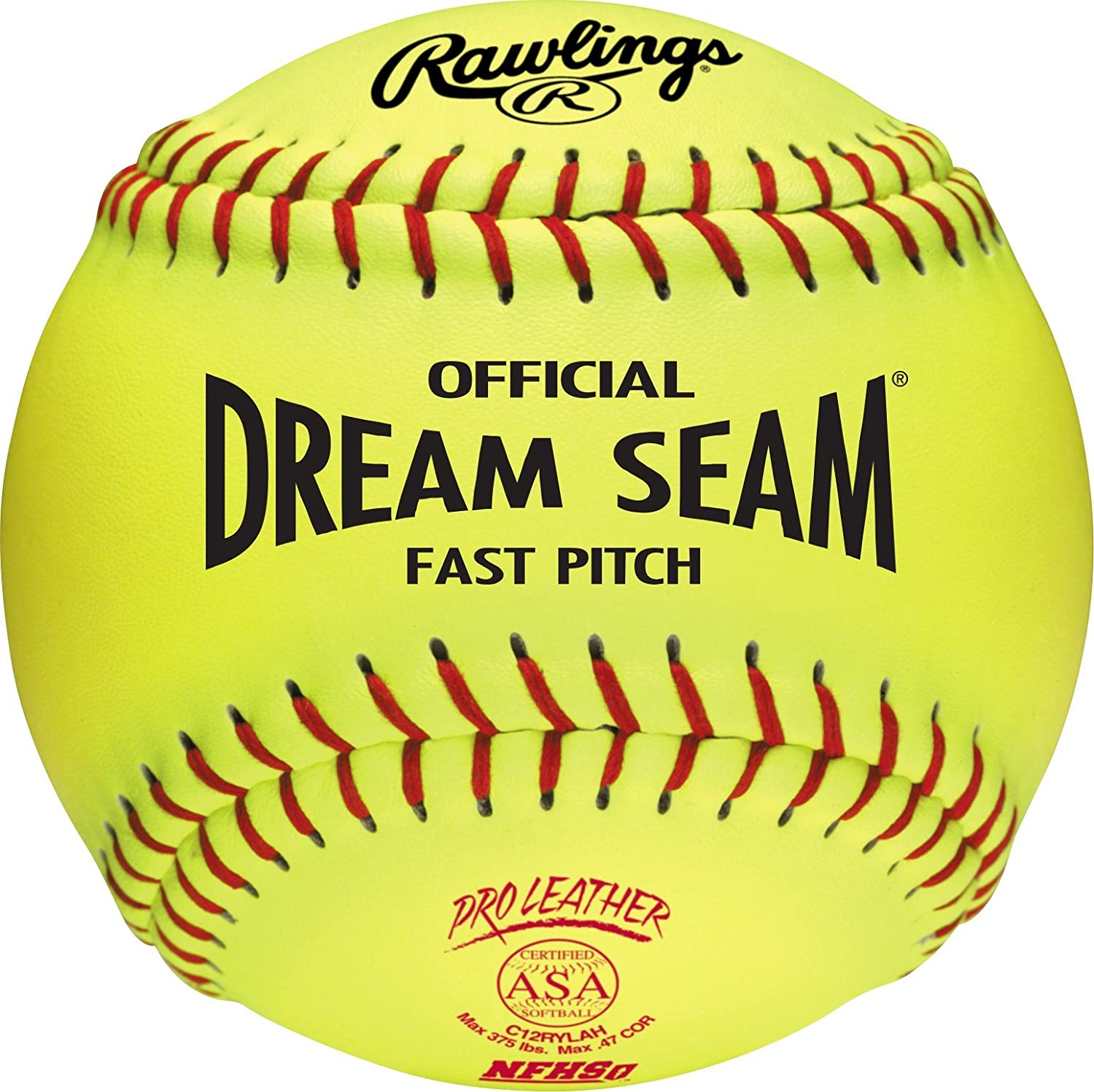 Rawlings Sporting Goods C12RYLAH Official ASA Dream Seam Fast Pitch Softballs (One Dozen), Yellow, Size 12 : Sports & Outdoors