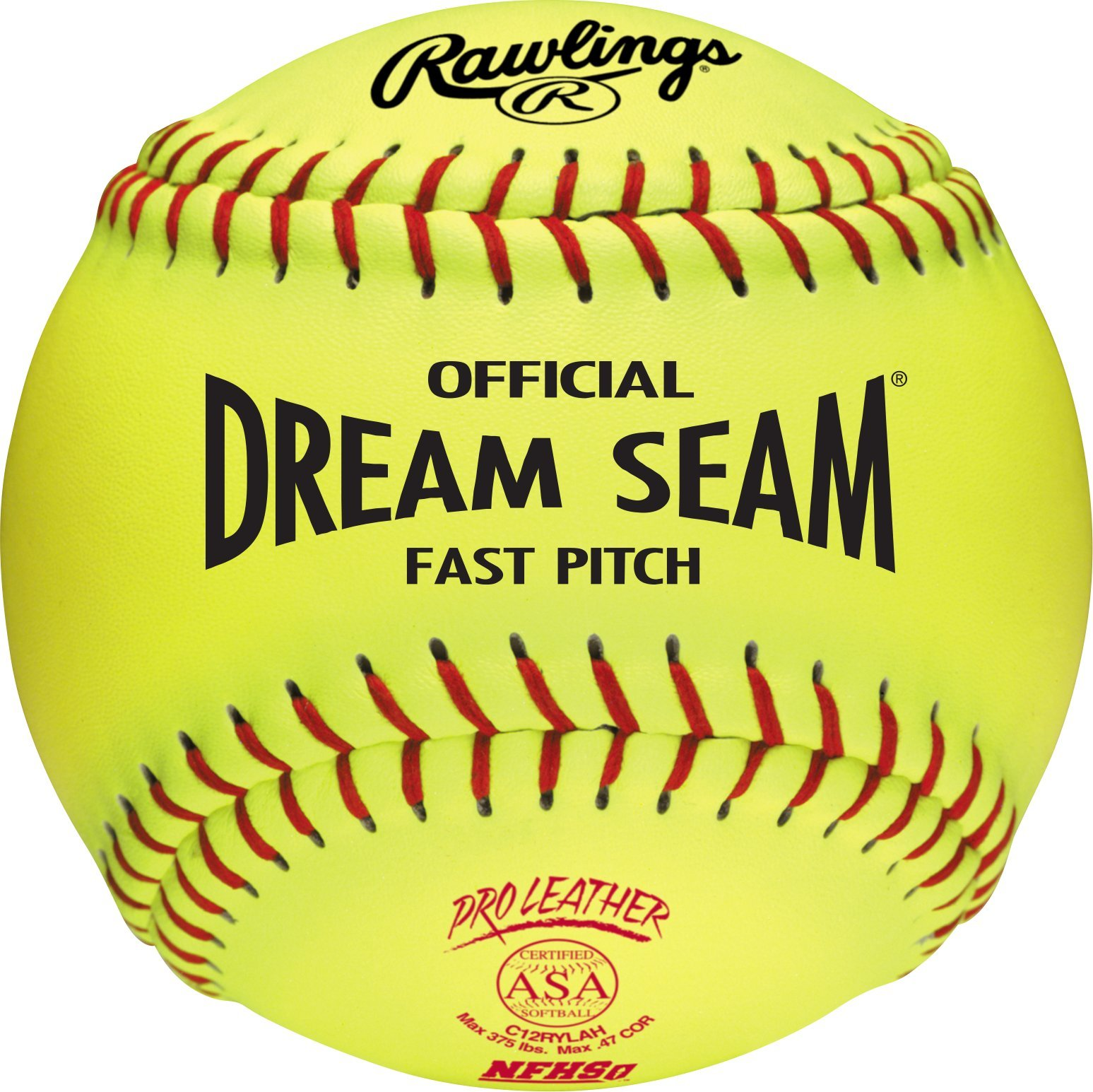 Rawlings Sporting Goods C12RYLAH Official ASA Dream Seam Fast Pitch Softballs (One Dozen), Yellow, Size 12 by Rawlings Sporting Goods