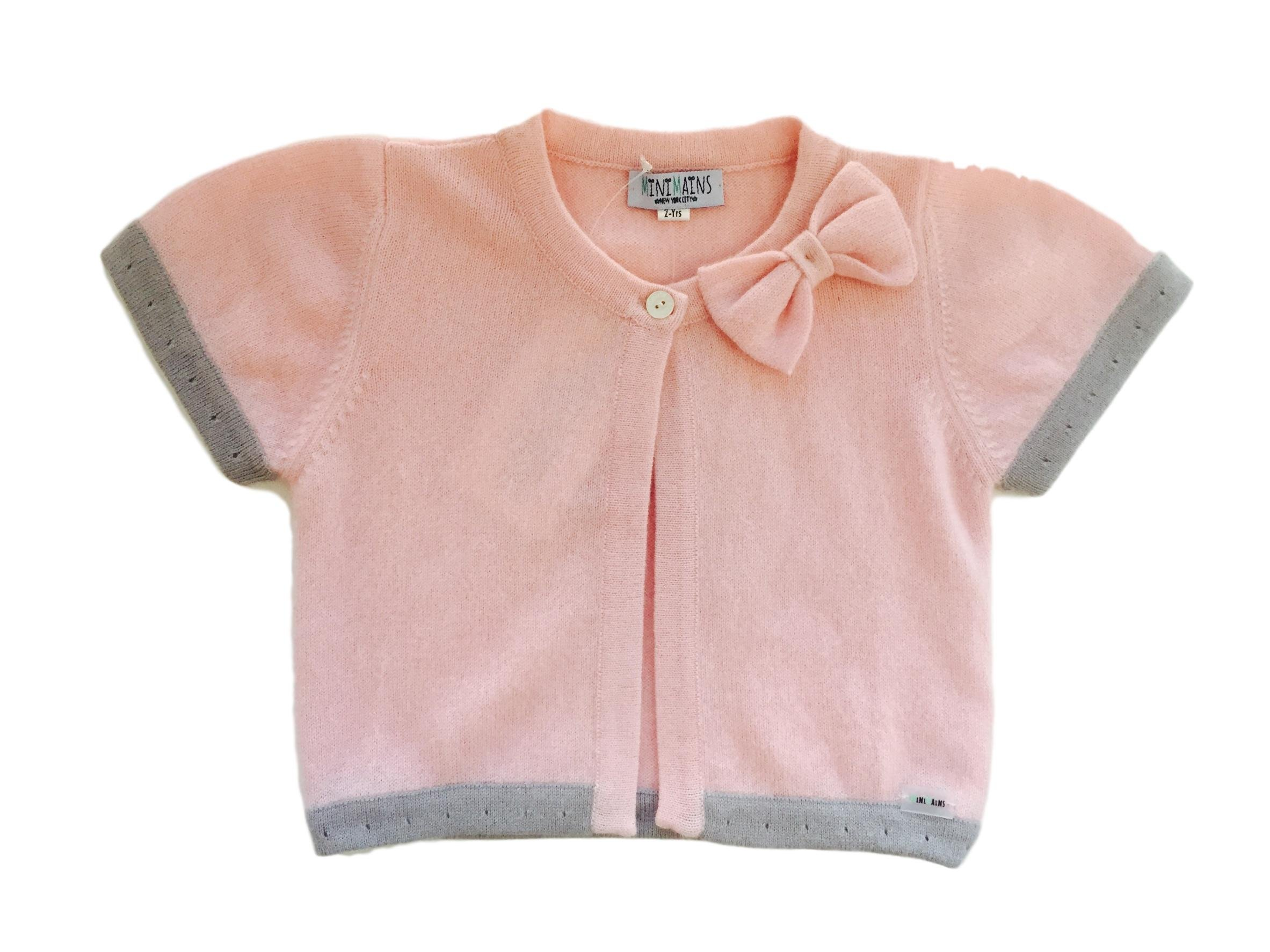 Minimains Little Girls' Pure Cashmere Bolero Cardigan With Bow 2y Pink