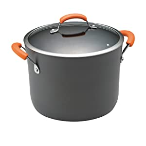 Rachael Ray Hard-Anodized Nonstick 10-Quart Covered Stockpot, Gray with Orange Handles