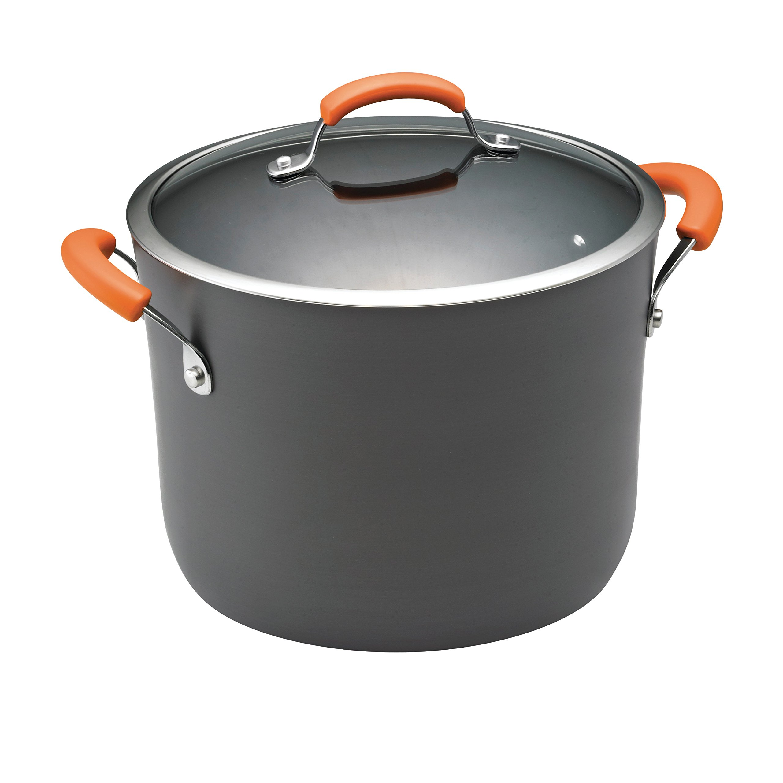 Rachael Ray Hard Anodized II Nonstick Dishwasher Safe 10-Quart Covered Stockpot, Orange