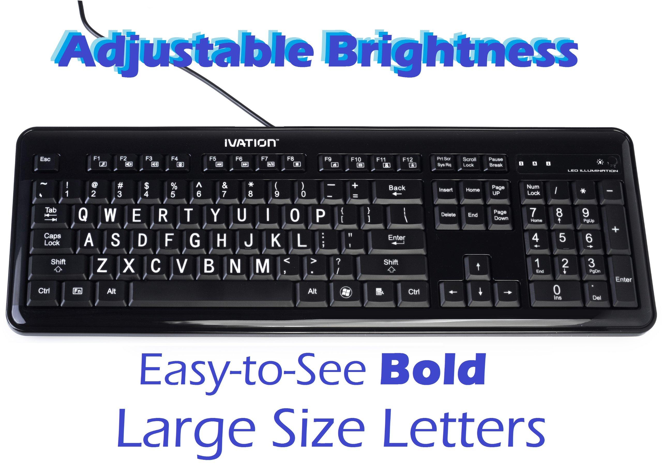 Ivation letter illuminated large print full size for Backlit keyboard large letters